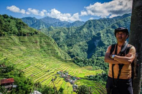 Self Portrature DSLR timed shot at Batad Rice Terraces Ifugao Philippines at the background